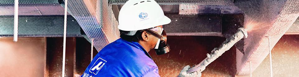 Нанесение цементных огнезащитных покрытий